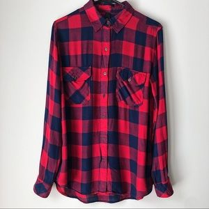 Seven7 Red Blue Plaid Flannel Long Sleeves